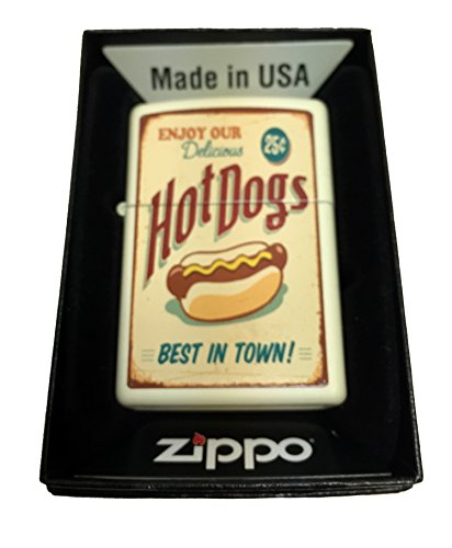 Zippo Custom Lighter - 1950's Vintage Hot Dog Poster - Regular Cream Matte