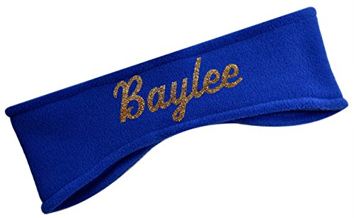 Polar Fleece Ear Warmer Headbands with Custom GLITTER Text for Cold Weather Sports and Casual Wear (ROYAL)