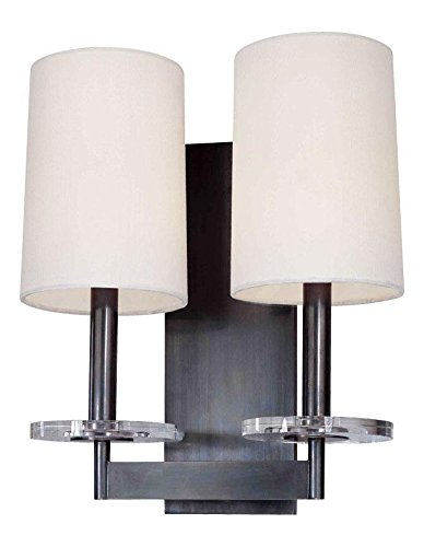 Old Bronze Two Light Up Lighting Wallchiere Style Double Wall Sconce with Cylinder Shaped Shades