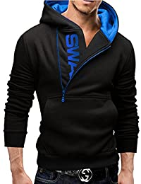 Legou Men Half Zipper Letter Pattern Nap Hoodies Sweatershirts