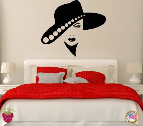 Wall Vinyl Stickers Woman Girl Female In The Hat Cool Modern Decor For Bedroom z1758m price
