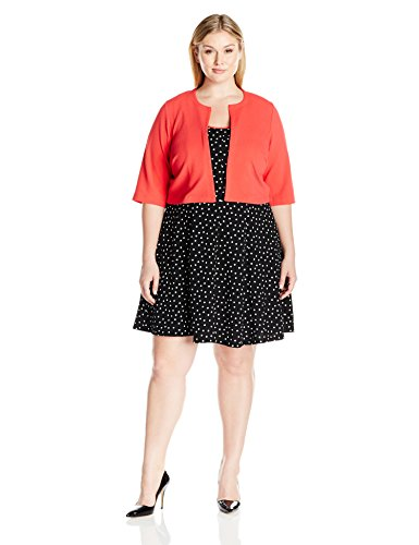 Robbie-Bee-Womens-Plus-Size-2-Pc-Dotted-Jacket-Dress
