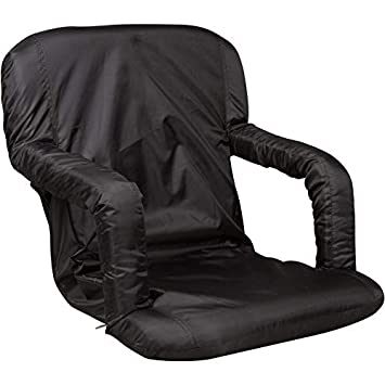 Portable Multiuse Adjustable Recliner Stadium Seat by Trademark Innovations Black