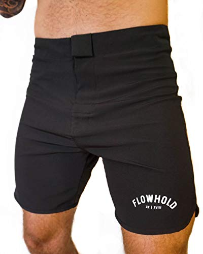 Flowhold MMA Shorts for No Gi BJJ, Grappling, Kickboxing, Crossfit, Jiu Jitsu for Men (Medium) Black