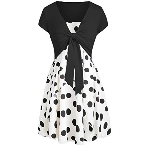 (ZSBAYU Womens Crop T-Shirts Cami Dress Set,Casual Polka Dot Printed Dresses with Solid Short Sleeve Blouse Tops Tees(Black,L))
