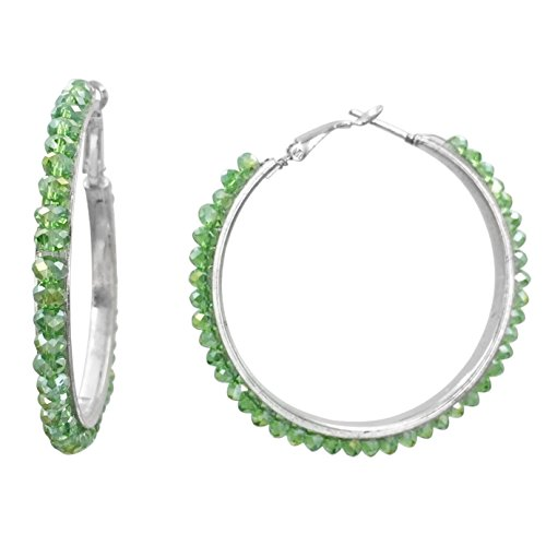 - Beveled Glass Bead Silver Tone Hoop Earrings -Assorted Colors (Green)