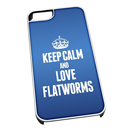 Bianco cover per iPhone 5/5S, blu 2427 Keep Calm and Love Flatworms