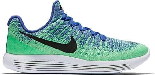 Image of Womens Nike LunarEpic Low Flyknit 2 Running Shoe MEDIUM BLUE/BLACK-ALUMINUM-ELECTRO GREEN 9.5