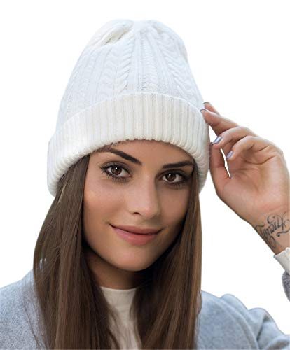 (Women Men Winter Beanie Hat – Cashmere Wool Acrylic Cable Thick Knit Knitted Warm Watch Stocking Skull Knit Caps White)