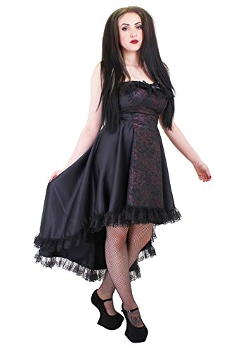 Voodoo Vixen Costume (Steampunk Gothic Antique Pink & Black Asymmetrical Fishtail Bustier Dress. Size 8)