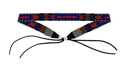 Cowboy Western Beaded Hat Band, Rodeo Style, Aztec, Blue, Gray, and Red Hatbands, Handmade in Guatemala 7/8 Inches X 21 Inches (Blue and Gray)