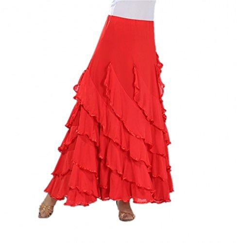 Elegant Long Swing Ballroom Dancing Latin Dance Party Skirt Red, One Size