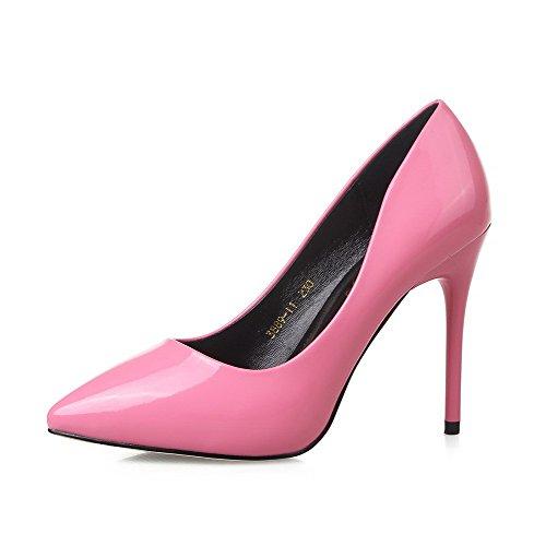 Aalardom Kvinna Mjukt Material Kick-häl Pekade-tå Pådrag Pumpar-shoes Pink-10cm