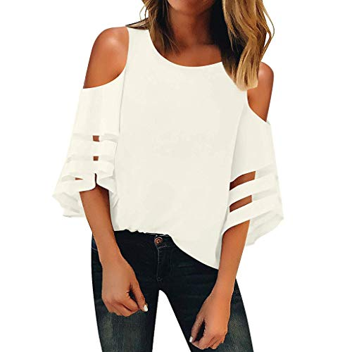 Women Summer T Shirt Casual V Neck Cuffed Sleeves Solid Summer Blouse Tops S-2XL