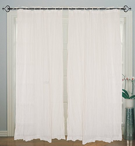 1 Piece Tie Top Cotton Plain Solid White Curtain for Windows and Door