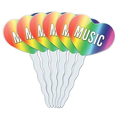 Rainbow Heart Love Set of 6 Cupcake Picks Toppers Decoration I Love Heart Sports Hobbies Ma-Oi