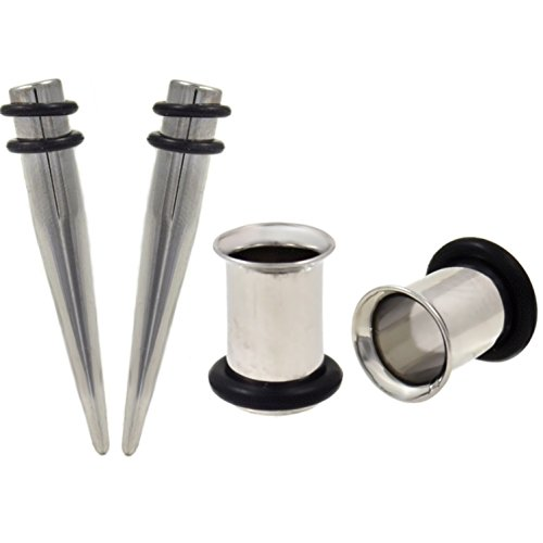 (1 Gauge(1G-7mm) 4 Piece Ear Stretching Kit Steel Tapers and Single Flared Tunnel Plugs)