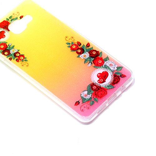 Funda para Samsung Galaxy A32016, Samsung Galaxy A32016funda, ukayfe Samsung Galaxy A32016silicona Carcasa Funda teléfono móvil Cereza Flores Mariposa Patrón Bling brillante brillante cristal dia Rot Rosen Blumen