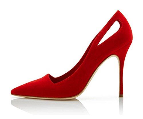 Scarpe Stringate A Punta Tinta Unita Color Miele Con Tacco A Spillo Per Donna