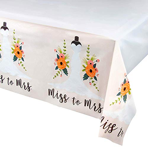 Miss to Mrs Plastic Tablecloth - 3-Pack Bridal Wedding Shower 54 x 108 Inch Table Decoration, Fits Up to 8-Foot Long Tables, Engagement Party Supplies, 4.5 x 9 Feet ()