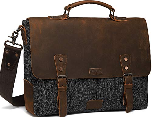 Messenger Bag for Men, Vaschy Vintage Leather Tweed Canvas Satchel 15.6inch Laptop Business Briefcase Crossbody Shoulder Bag with Detachable Strap Gray