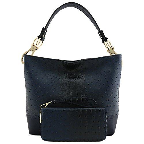 Navy Leather Handbag - 9