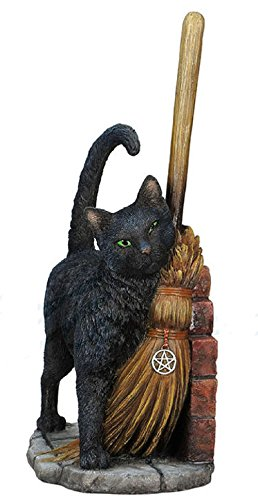 Lisa Parker Magical Black Cat Brush With Magick Statue (Statues Black Cat)