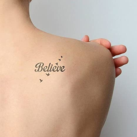 f03c1bc9a Amazon.com : Tattify Believe Temporary Tattoo - Fly Birds (Set of 2) -  Other Styles Available - Fashionable Temporary Tattoos : Beauty