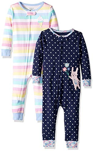 Carter's Baby Girls 2-Pack Cotton Footless Pajamas, Bunny/Stripes 18 Months