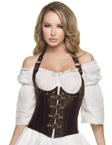[Steampunk Underbust Corset (Small, Brown)] (Brown Leather Corset)