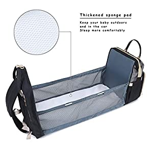 QIMIAOBABY 3 in 1 Travel Mummy Bag, Diaper Bag, Baby Changing mat, Outdoor Baby Bed, Portable Travel Baby Cradle (Black…