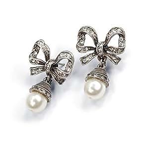 Silver Bridal Pearl Bow Wedding Earrings