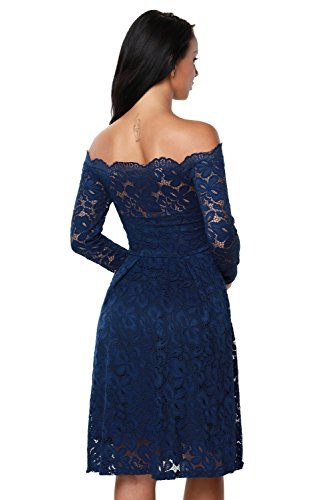 Wedding Designer97 Sleeve Shoulder Short Plus Off Party Elegant Long Long Women's Dress Blue Sleeve Lace Size Deep BxqnRgwBr