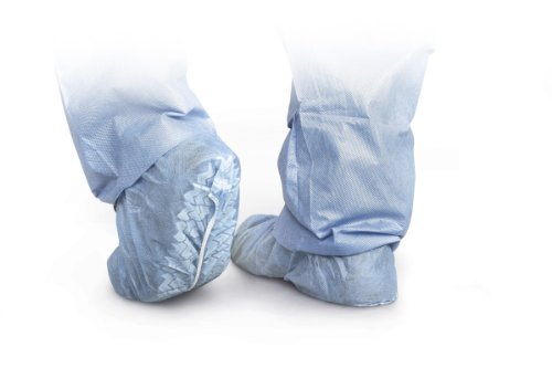 (Medline CRI2003 Polypropylene Non-Skid Shoe Covers, X-Large, Blue (Pack of)