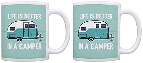 RV Camper Gifts Life is Better in a Camper Camping Gifts Vintage Camper Accessories Gift 2 Pack Gift Coffee Mugs Tea Cups Green