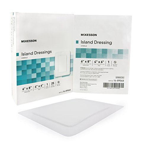 Adhesive Island Dressing McKesson 6 X 8 Inch Polypropylene / Rayon Rectangle 4 X 6 Inch Pad White Sterile - 100/CS (MFN # 16-89068) by McKesson