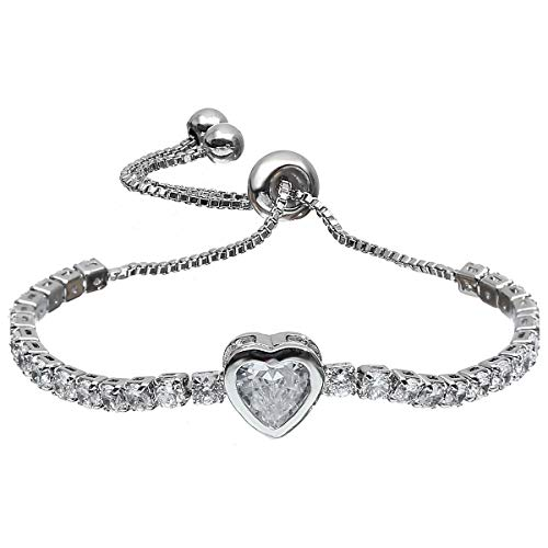 ASHMITA Charm Heart Bracelets for Women Girls Cubic Zirconia Silver Adjustable Chain Bracelet ()