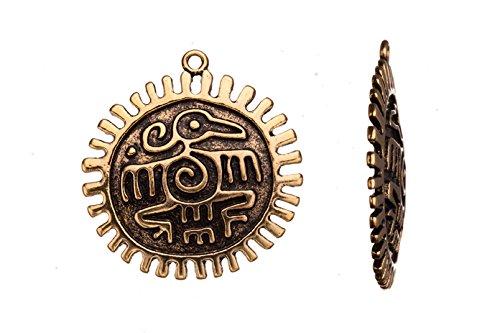 Aztec Symbol Flat Round Antique Gold-Finished Pendant 39.5X3.5mm sold per 2pcs
