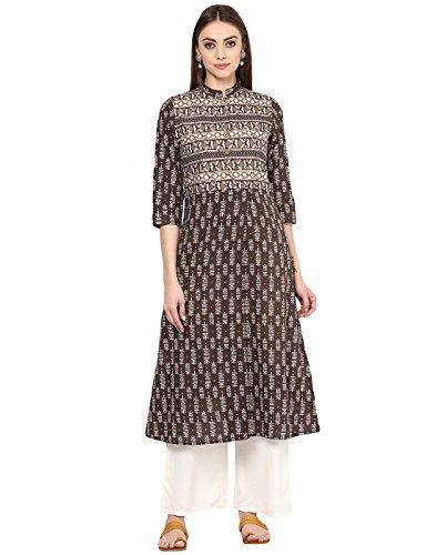 (Jaipur Kurti Women's Cotton Block Print Kurta With Palazzo Set S Brown)