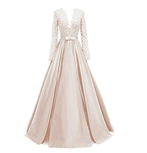 line Prom Formal Evening Lace Party Neck Dresses Sheer Ivory Long V Floor Pearls Button Length Appliques A Back Sleeved 4EgwY