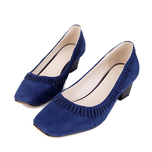 AalarDom Mujeres Sólido Sin cordones Puntera Cuadrada Cerrada Tacón ancho De salón con Borlas Azul