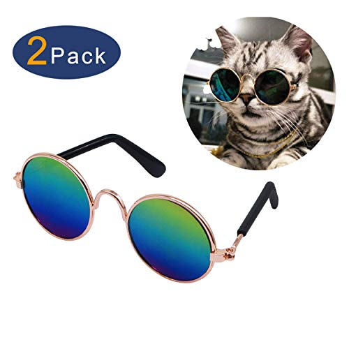 YAODHAOD Pet Dog Cat Sunglasses, Classic Retro Round Metal Prince Princess Sunglasses Puppy Katie Photo Props Toys(2 Pack) ()