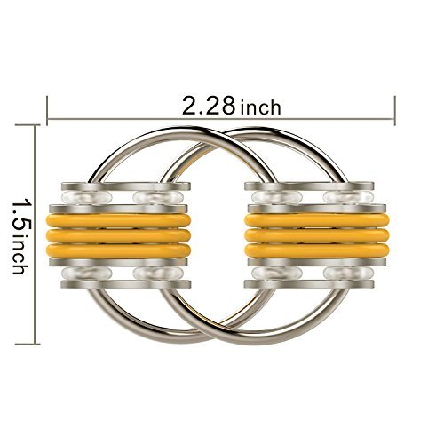 Flippy Chain Fidget Toy Stress Reducer for Anxiety and Autism Yellow Blue 2.28x1.5IN - 3