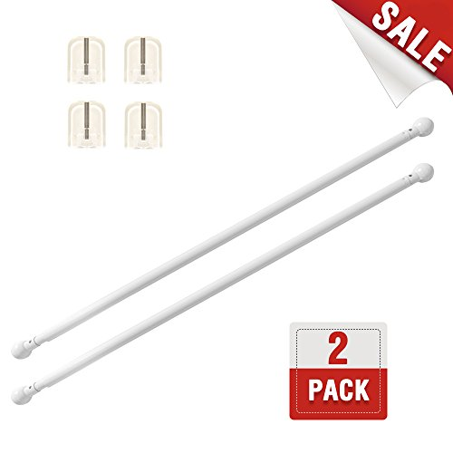jinchan Adjustable Curtain Rod for French Door 28-48 White