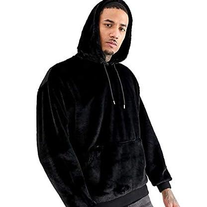 iWoo Men's Warm Fleece Hoodie Fluffy Pullover Viscose Sweater Sweatshirt with Two Pockets 3