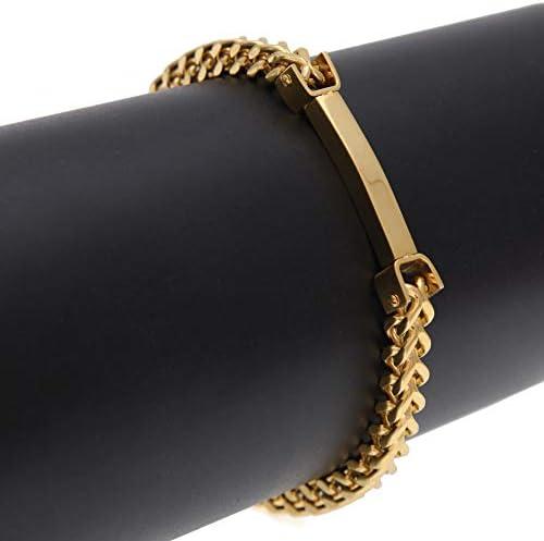 メンズステンレススチールキールチェーンブレスレット、ファッションスタイルゴールドメッキカラーブレスレット、クラシックポリッシュユニセ