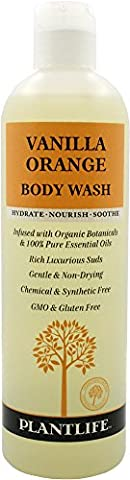 Vanilla Orange Body Wash (or Shower Gel)- 14 fl oz- made with organic ingredients and 100% pure essential oils by Plantlife