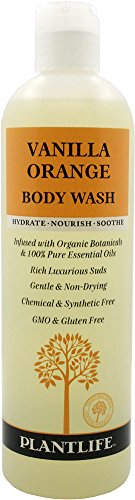 Vanilla Orange Body Wash (or Shower Gel)- 14 fl oz- made with organic ingredients and 100% pure essential oils by Plantlife Gardenia Rose Shower Gel