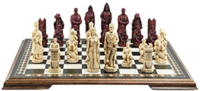 Crusades Themed Chess Set - 5.25 Inches - In Presentation Box - Handmade in UK - Ivory and Burgundy