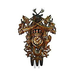 August Schwer Authentic Cuckoo Clock Antique Hunting Clock 8-Day Movement with Music